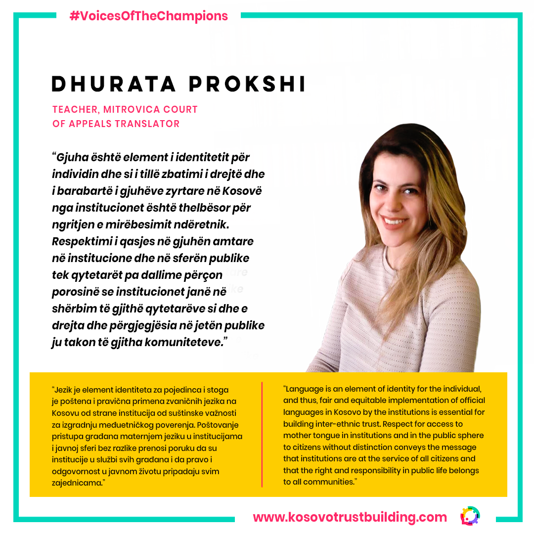 Language teacher and Translator at Mitrovica court of appelas, Dhurata Prokshi is a #KTBChampion!