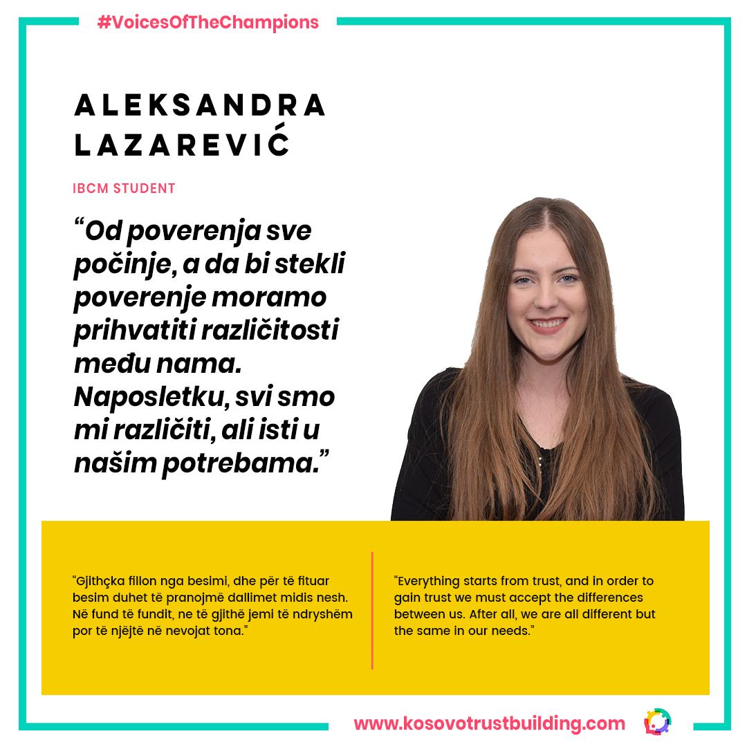 Student at IBCM, Aleksandra Lazarević is a #KTBChampion!