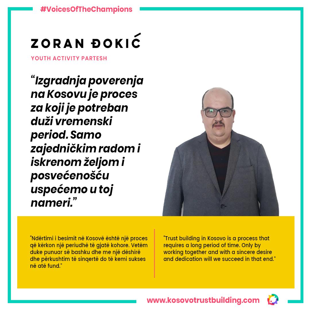 Deputy Director at NGO Youth Activity Partesh, Zoran Đokić is a #KTBChampion!